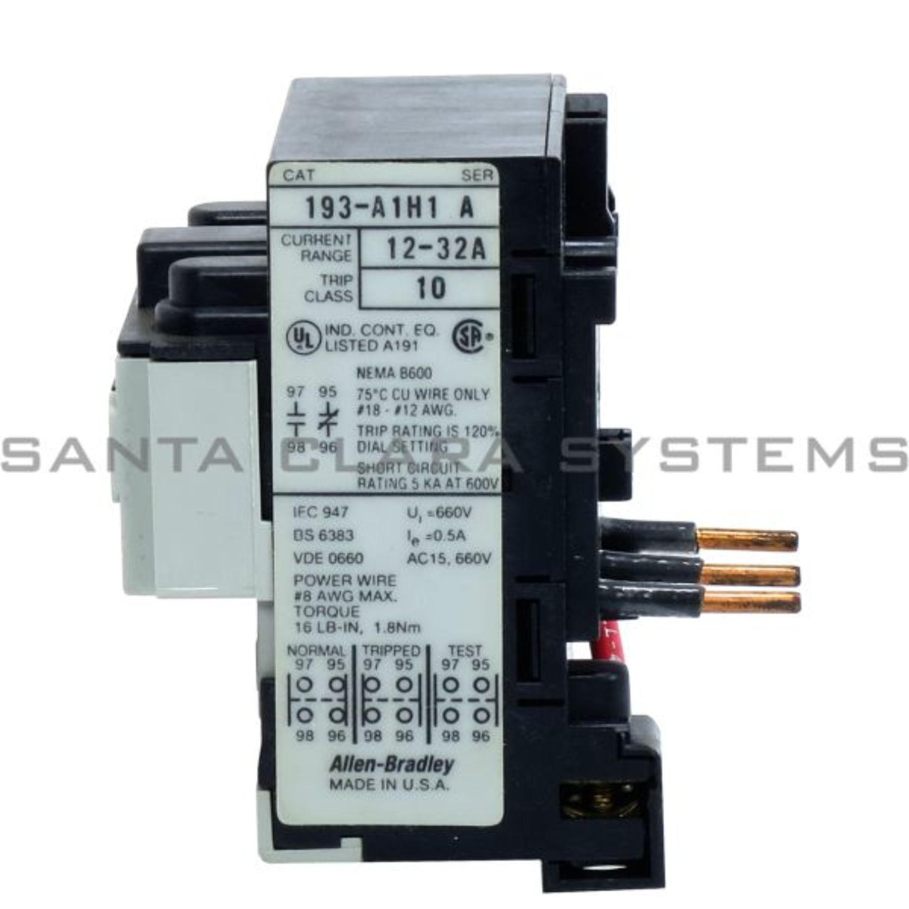 193-A1H1 Overload Relay In stock and ready to ship - Santa Clara Systems