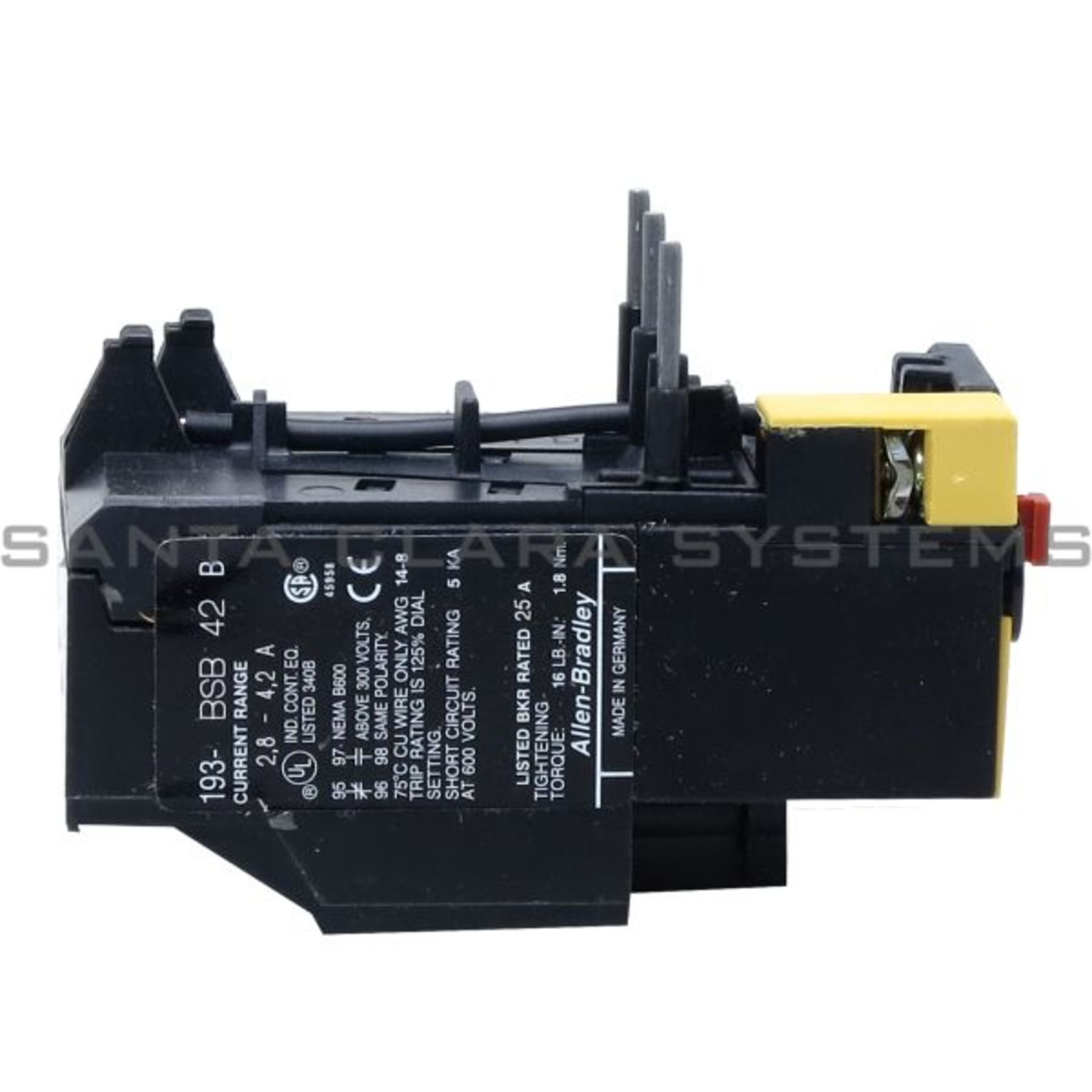 193 Bsb42 Allen Bradley In Stock And Ready To Ship Santa Clara Systems Current Rating For Relay Overload Product Image