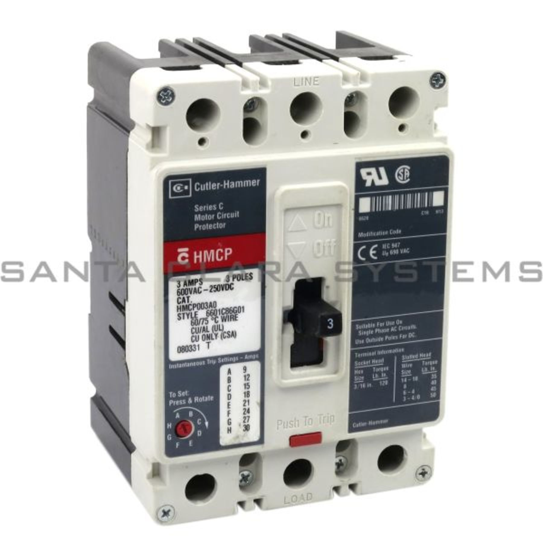 Westinghouse 3 Amp Circuit Breaker HMCP003A0 ; HMCP003AO