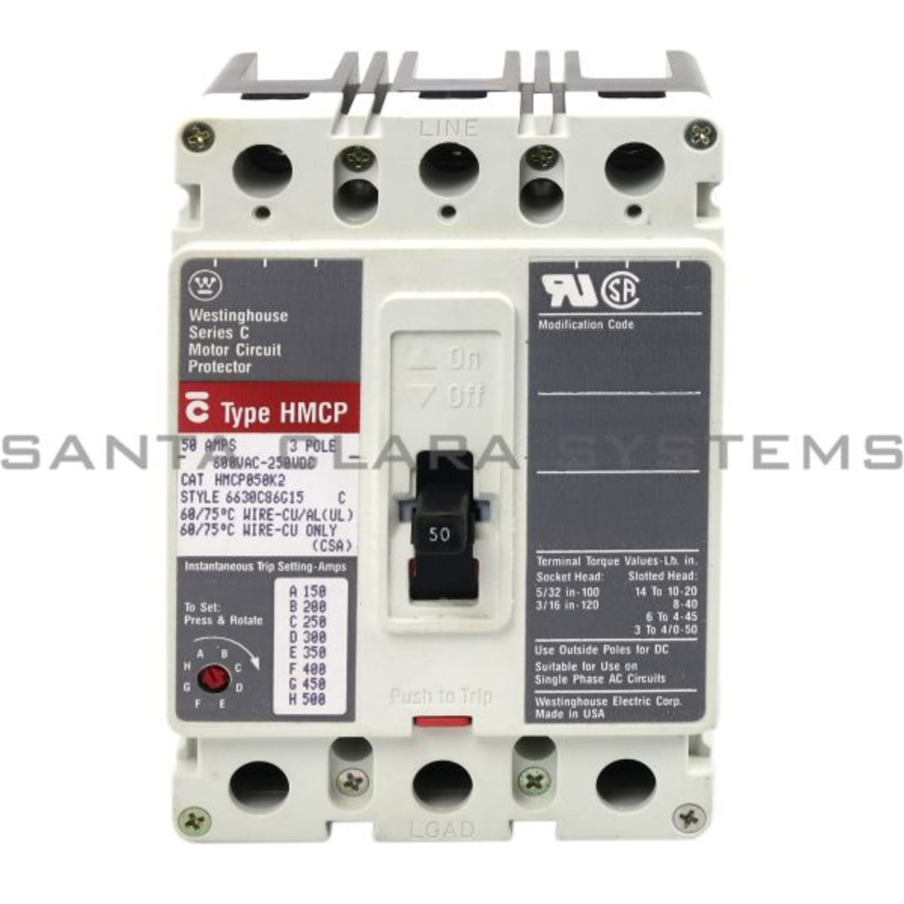 HMCP050K2 Circuit Breaker   50-AMPS   Eaton Cutler-Hammer ... on wiring 30 amp breaker, wiring main breaker panel, wiring 100 amp breaker, wiring gfci circuit breaker,