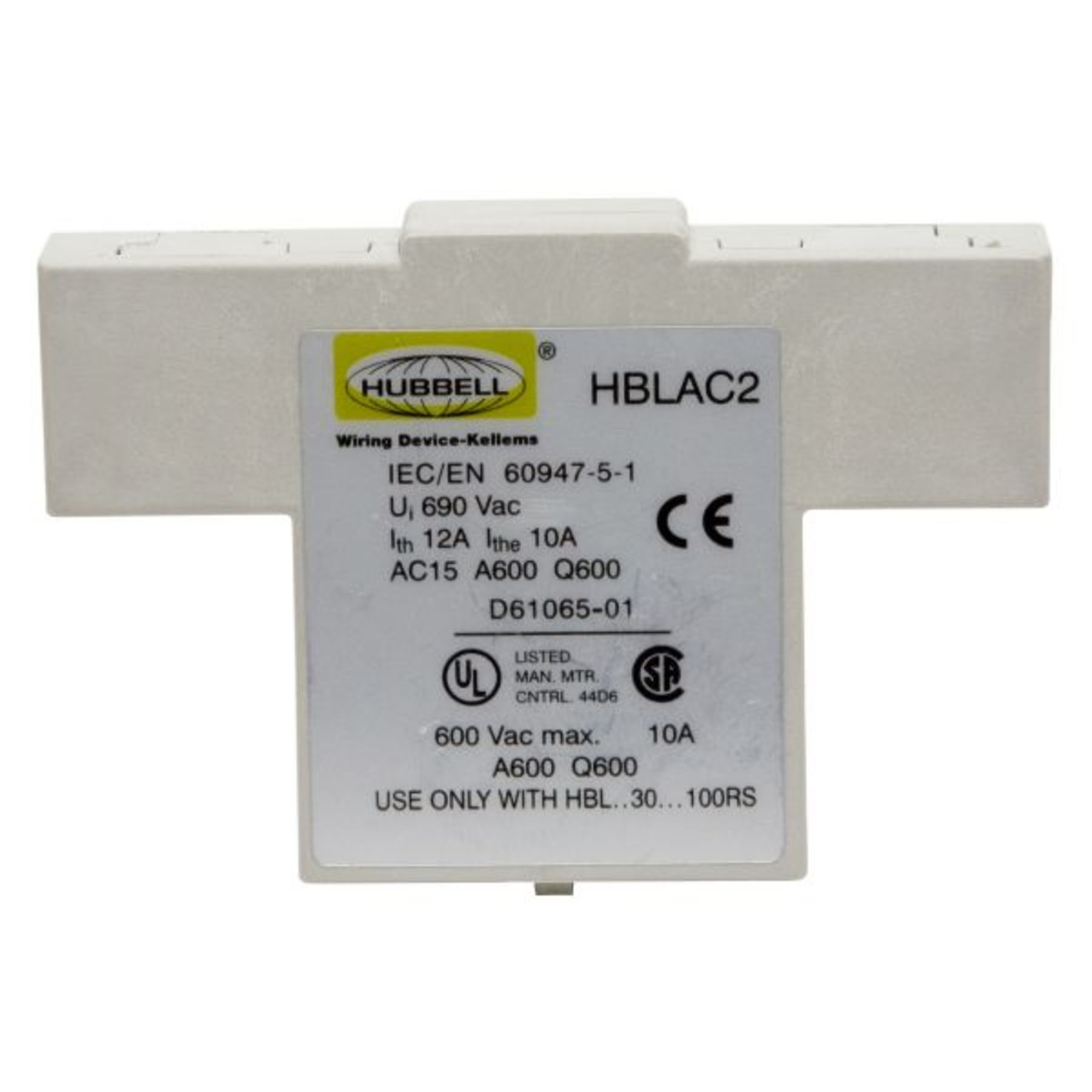 HUBBELL WIRING DEVICE-KELLEMS HBLAC1 Auxiliary Contact,Break After Break