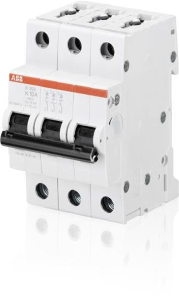 ABB 2CDS253001R0487 Miniature Circuit Breaker - S200 - 3P - K - 20 A Product Image