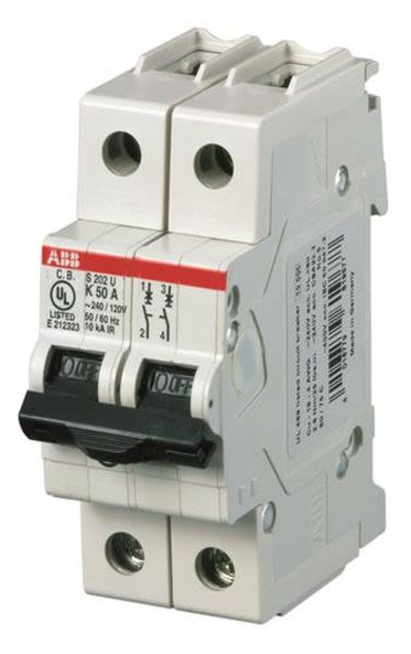 ABB 2CDS272417R0427 Miniature Circuit Breaker - S200U - 2P - K - 10 A Product Image
