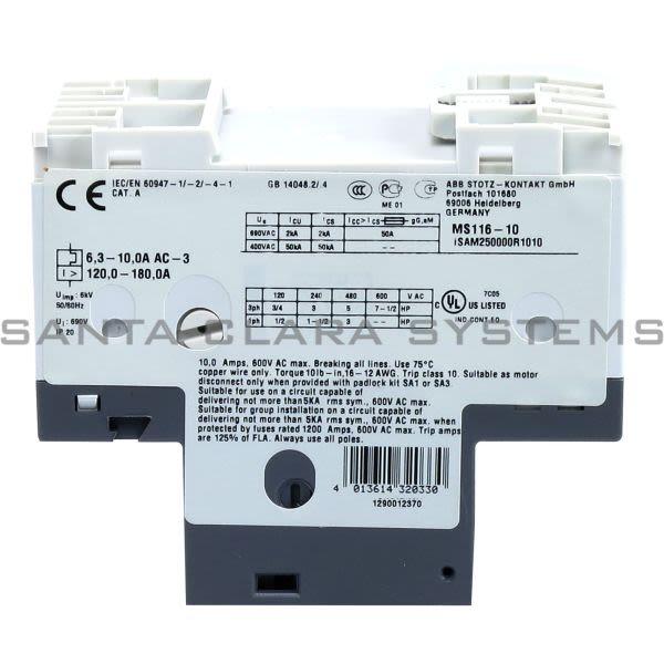 ABB MS116-1.0 Manual Motor Starter   1SAM250000R1005 Product Image