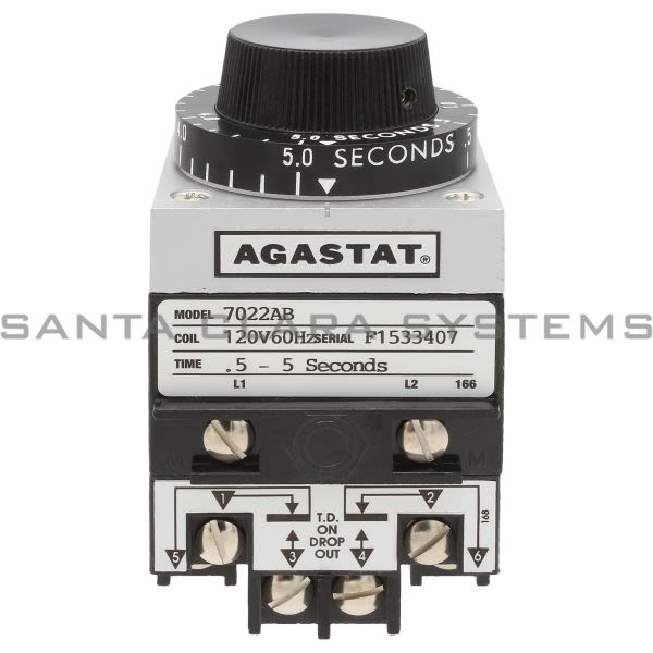 Agastat 7022AB Time Delay Relay DPDT 5-Sec | 7022-AB Product Image
