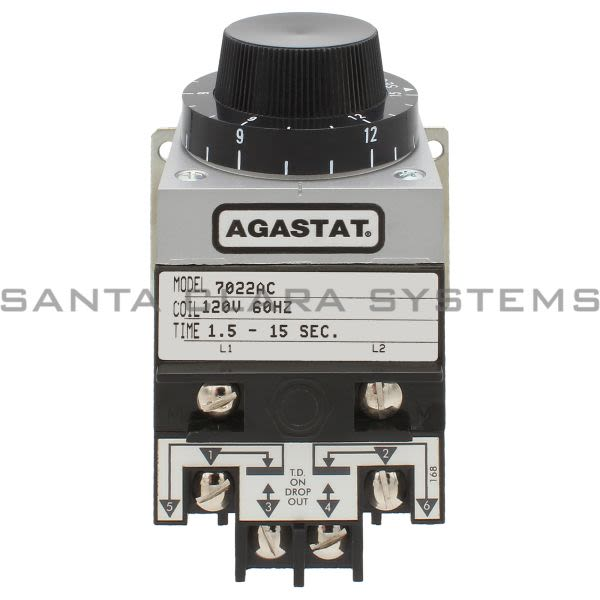 Agastat 7022AC Time Delay Relay DPDT 15-Sec | Tyco Product Image