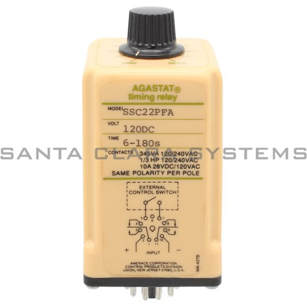 Agastat SSC22PFA Timing Relay 6-180S 120VDC Product Image