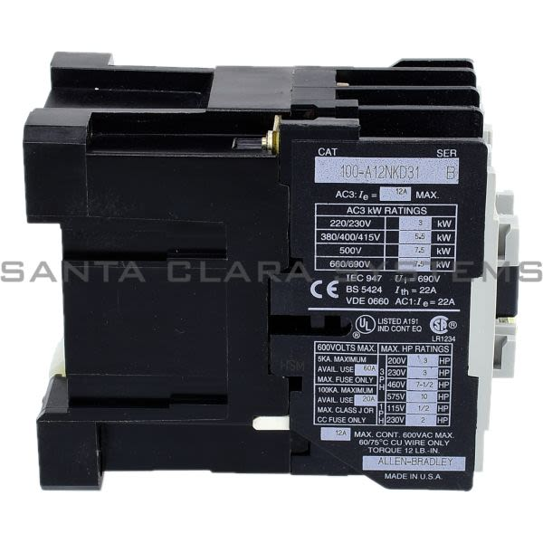 Allen Bradley 100-A12NKD31 Contactor Product Image