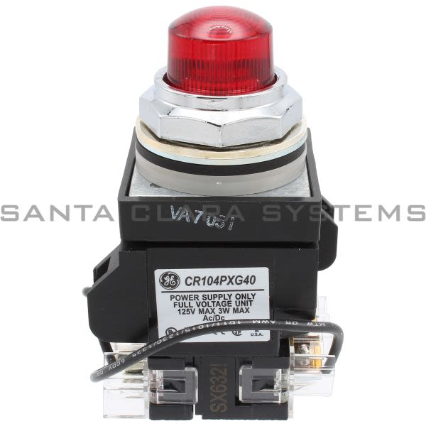 General Electric CR104PLT82R Push Button Push-To-Test 125VAC Red 1NO/1NC Product Image