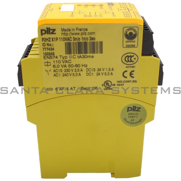 Pilz P2HZX1P110VAC3N-O1N-C2SO-777434 Safety relay (standalone) Inputs: 1 N/O, 1 N/C per pushbutton Outputs: 3 N/O, 1 N/C, 2 semiconductor UB 110 V AC, width: Product Image