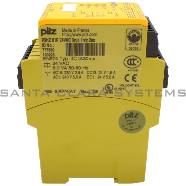 Pilz P2HZX1P24VAC3N-O1N-C2SO-777330 Safety relay (standalone) Inputs: 1 N/O, 1 N/C per pushbutton Outputs: 3 N/O, 1 N/C, 2 semiconductor UB 24 V AC, width:  Product Image