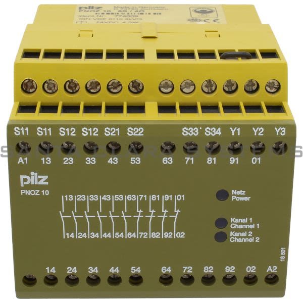 Pilz PNOZ1024VDC6S4O-774009 Safety relay (standalone) Inputs: 1-/2-channel wiring with/without detection of shorts across contacts. Outputs: 6 N/O, Product Image