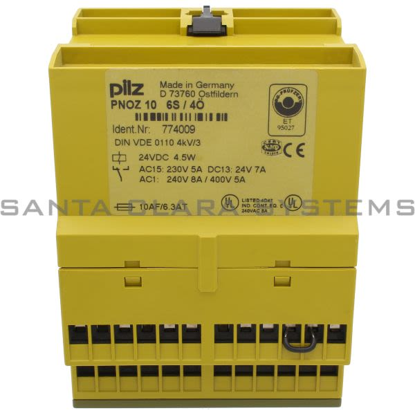 Pilz PNOZ 10 24VDC 6S 4O-774009  Safety relay (standalone) Inputs: 1-/2-channel wiring with/without detection of shorts across contacts. Outputs: 6 N/O, Product Image