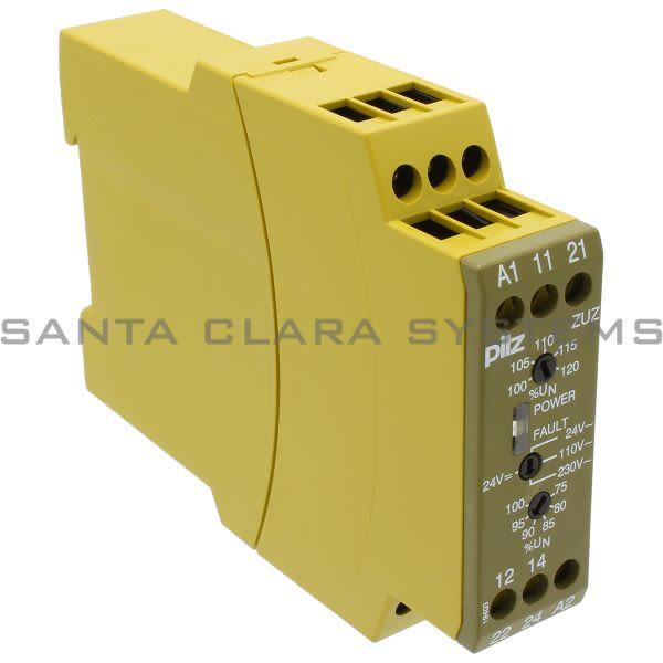 Pilz ZUZ 24VDC 24/110/230VAC 2C/O-827100  Voltage monitoring relay for monitoring 1-phase mains is used as a threshold element, monitoring device and control elem Product Image
