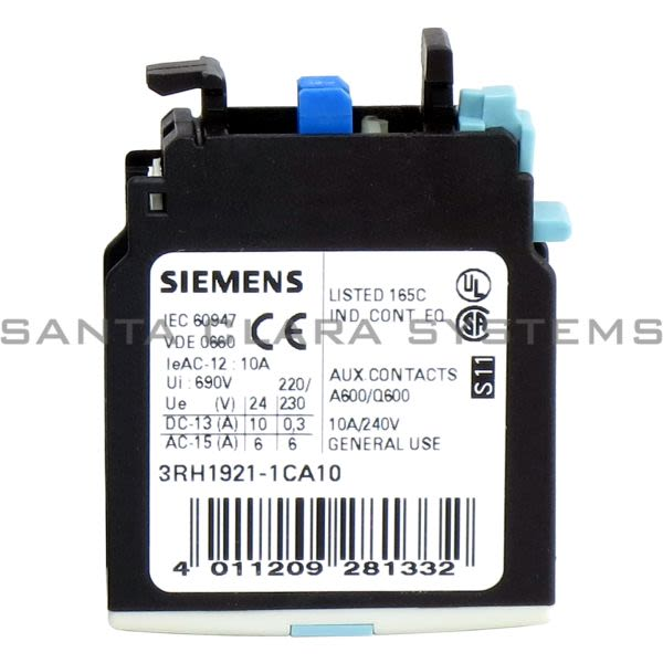 Siemens 3RH1921-1CA10 Auxillary Contact | 3RH1921-1CA10 Product Image