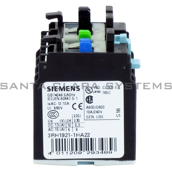 Siemens 3RH1 921-1HA22  Auxiliary Contact | 3RH1921-1HA22 Product Image