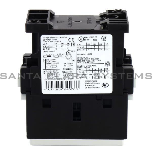 Siemens 3RT1025-1AK60 Contactor | Sirius | 3RT1025-1AK60 Product Image