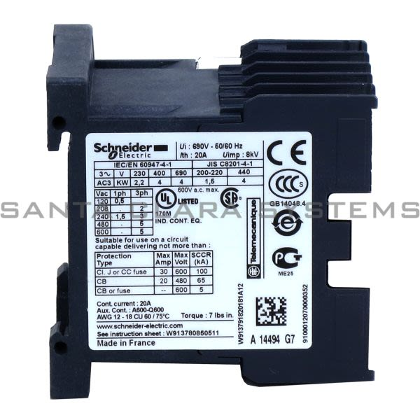 Telemecanique LC1K0910G7 TeSys K contactor - 3P - AC-3 <= 440 V 9 A - 1 NO aux. - 120 V AC coil Product Image